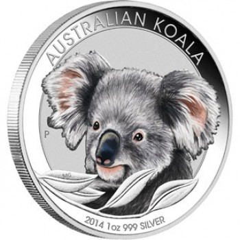 2014 Australian 1oz Silver Coloured Koala Coin