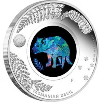 2014 Australian Opal Series 1oz Silver Coin - Tasmania Devil