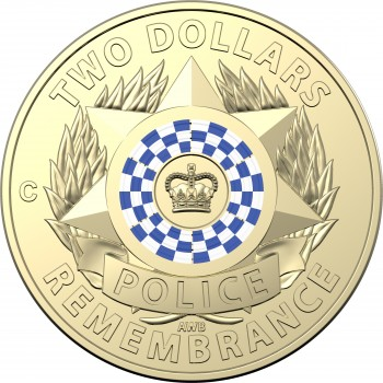 2019 $2 Coloured Police Remembrance C-Mint Mark Coin
