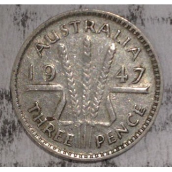 1947 AUSTRALIAN PRE DECIMAL SILVER 3-PENCE