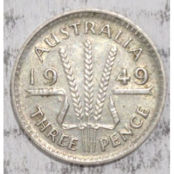1949 AUSTRALIAN PRE DECIMAL SILVER 3-PENCE