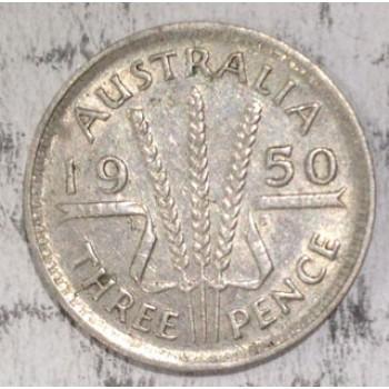1950 AUSTRALIAN PRE DECIMAL SILVER 3-PENCE