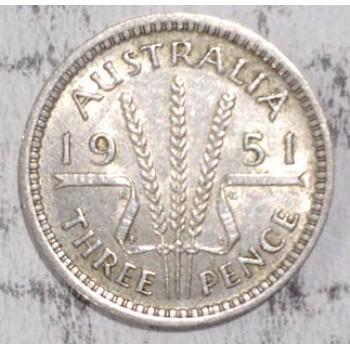 1951PL AUSTRALIAN PRE DECIMAL SILVER 3-PENCE