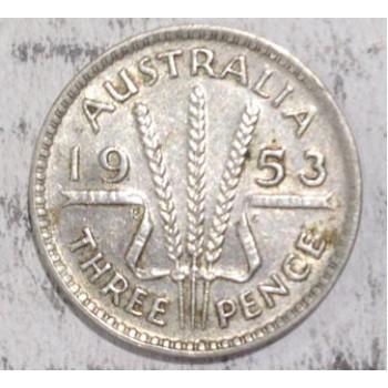 1953 AUSTRALIAN PRE DECIMAL SILVER 3-PENCE