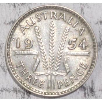 1954 AUSTRALIAN PRE DECIMAL SILVER 3-PENCE