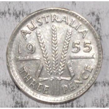 1955 AUSTRALIAN PRE DECIMAL SILVER 3-PENCE