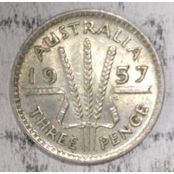 1957 AUSTRALIAN PRE DECIMAL SILVER 3-PENCE