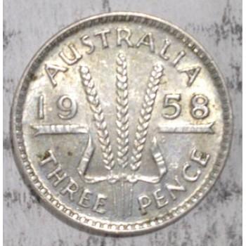 1958 AUSTRALIAN PRE DECIMAL SILVER 3-PENCE