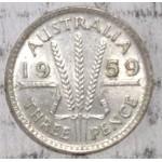 1959 AUSTRALIAN PRE DECIMAL SILVER 3-PENCE