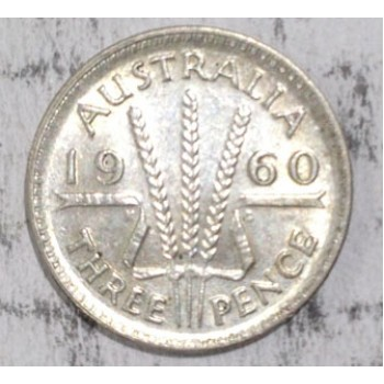 1960 AUSTRALIAN PRE DECIMAL SILVER 3-PENCE