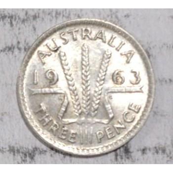 1963 AUSTRALIAN PRE DECIMAL SILVER 3-PENCE