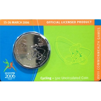 2006 Australian Commonwealth Games 50c Uncirculated Coin - Cycling