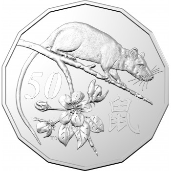 2020 50c Year of The Rat Uncirculated Coin