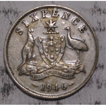 1946 AUSTRALIAN PRE DECIMAL SILVER 6-PENCE