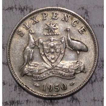 1950 AUSTRALIAN PRE DECIMAL SILVER 6-PENCE