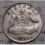 1951 AUSTRALIAN PRE DECIMAL SILVER 6-PENCE