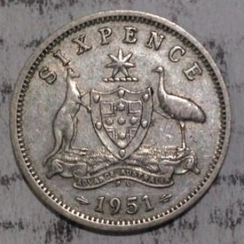 1951PL AUSTRALIAN PRE DECIMAL SILVER 6-PENCE