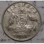 1955 AUSTRALIAN PRE DECIMAL SILVER 6-PENCE