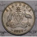 1957 AUSTRALIAN PRE DECIMAL SILVER 6-PENCE
