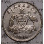 1960 AUSTRALIAN PRE DECIMAL SILVER 6-PENCE