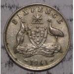 1961 AUSTRALIAN PRE DECIMAL SILVER 6-PENCE