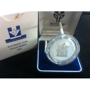 1985 AUSTRALIAN STATE SERIES $10 SILVER PROOF COIN - VICTORIA