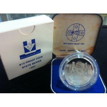 1987 AUSTRALIAN STATE SERIES $10 SILVER PROOF COIN - NEW SOUTH WALES