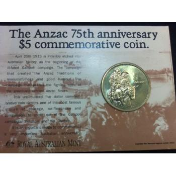 1990 Australian ANZAC 75th Anniversay $5 Uncirculated Coin