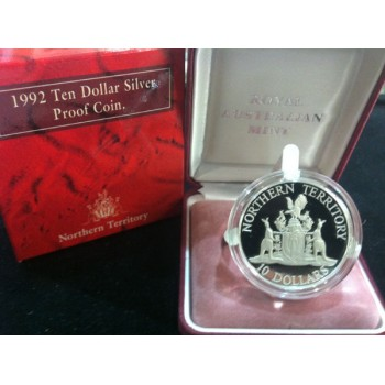 1992 AUSTRALIAN STATE SERIES $10 SILVER PROOF COIN - NORTHERN TERRITORY