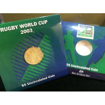 2003 Rugby World Cup $5 Uncirculated Coin