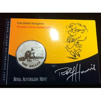 2007 Australian Artist Series Forsted Uncirculated Kangaroo Coin - Rolf Harris