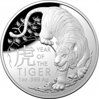 2022 $5 Lunar Year of the Tiger 1oz Silver Proof Domed Coin