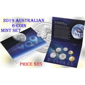 2019 50th Anniversary of the Moon Landing Australian 6-Coin Uncirculated Set