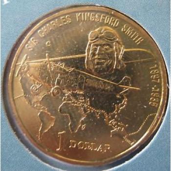 1997 Australian Sir Charles Kingsford Smith $1 Uncirculated Coin - M Mint Mark
