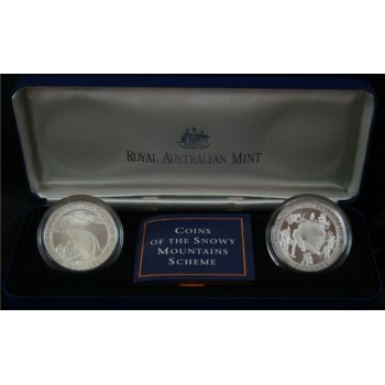 1999 AUSTRALIAN THE SNOWY MOUNTAINS SILVER 2 - COIN SET