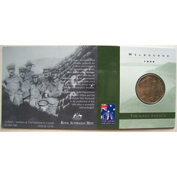 1999 Australian Last ANZACS $1 Uncirculated Coin - M Mint Mark