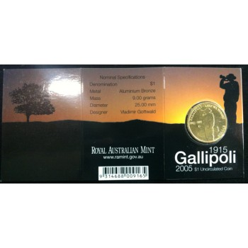 2005 Australian Gallipoli $1 Uncirculated Coin - M Mint Mark