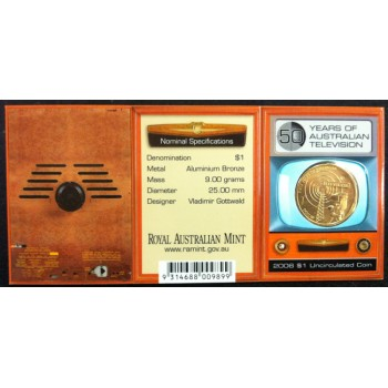 2006 Australian 50 Year of TV $1 Uncirculated Coin - B Mint Mark