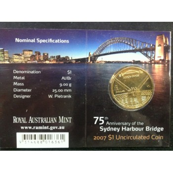 2007 Australian 75th Anniversary of the Harbour Bridge $1 Uncirculated Coin - B Mint Mark