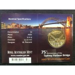 2007 Australian 75th Anniversary of the Harbour Bridge $1 Uncirculated Coin - S Mint Mark