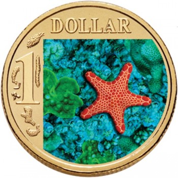 2007 Australian $1 Coloured Ocean Series Coin - Biscuit Star