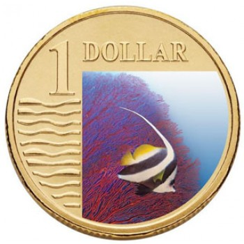 2007 Australian $1 Coloured Ocean Series Coin - Longfin Bannerfish