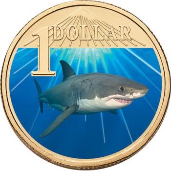 2007 Australian $1 Coloured Ocean Series Coin - White Shark