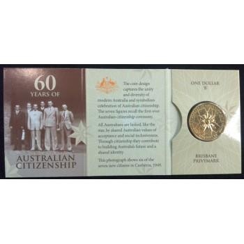 2009 60 Years fo Australian Citizenship $1 Uncirculated Coin - B Mint Mark