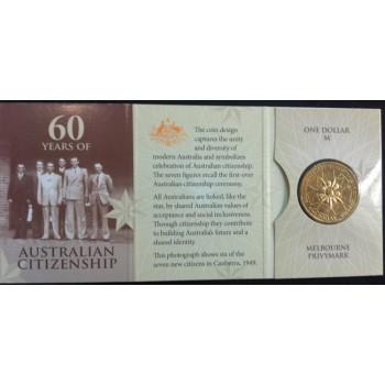 2009 60 Years fo Australian Citizenship $1 Uncirculated Coin - M Mint Mark