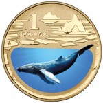 2013 $1 Uncirculated Coloured Coin Polar Animals - Humpback Whale
