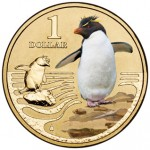2013 AUSTRALIAN POLAR $1 COLOURED COIN SERIES - ROCK HOPPER PENGUIN