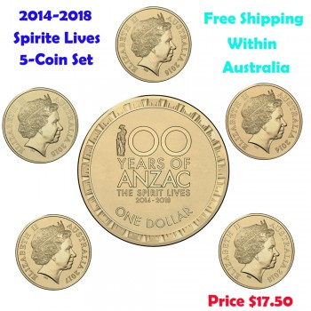 2014-2018 $1 Spirit Lives 100 Years of ANZAC 5-Coin Set