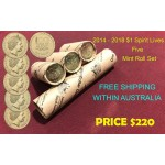 2014-2018 $1 Spirit Lives 100 Years of ANZAC Mint Roll Set