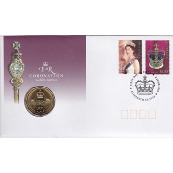 2003 QUEEN ELIZABETH II GOLDEN JUBILEE CORONATION FIRST DAY STAMP AND COIN COVER